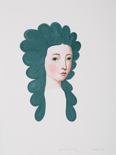 , 'Blue Green Hair Drawing ,' 2018, David Lusk Gallery