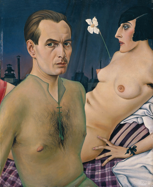 , 'Self-Portrait (Selbstbildnis mit Modell),' 1927, Los Angeles County Museum of Art
