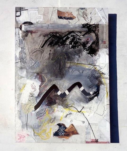Moe Yoshida Veggetti, 'Imagining an elephants through the gills', 2017, Mixed Media, Modeling paste, acrylic, oil pastel, collage on cardboard, GALLERY TAGA 2