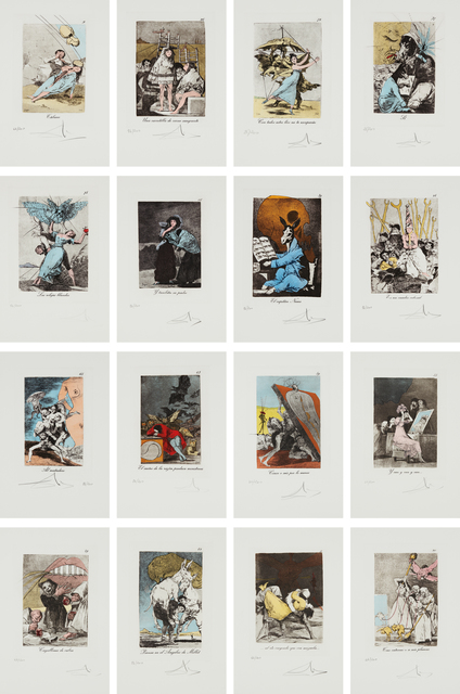 Salvador Dalí, 'Les Caprices de Goya de Dali (Dali's 'Caprichos' by Goya): 78 plates', 1977, Print, Seventy-eight heliogravures made from Goya's print series (circa 1799 edition) reworked and altered with drypoint and stencil-coloring, on Rives BFK paper, with full margins, loose (as issued), Phillips
