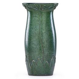 Tall vase with stylized flowers, Newburyport, MA