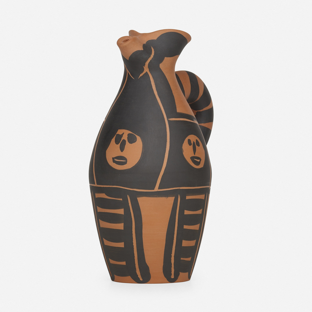 Pablo Picasso, 'Yan Petites Têtes pitcher', 1963, Textile Arts, Earthenware with engobe and incised decoration, Rago/Wright