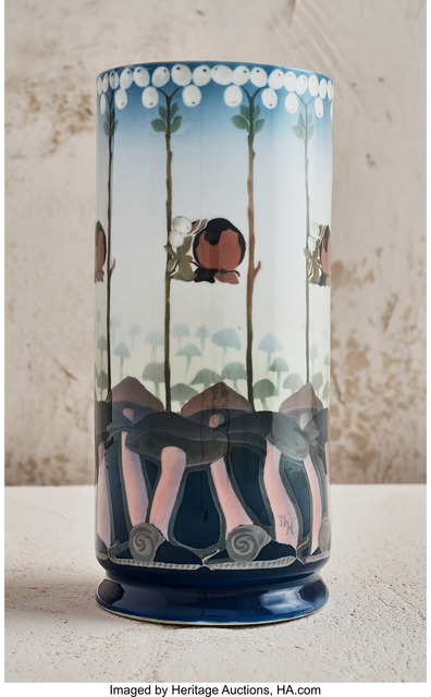 Unknown Artist, 'Cylindrical Vase with Mushroom Motif', circa 1900, Heritage Auctions