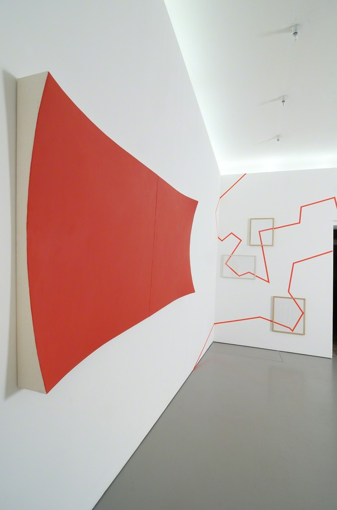 Installation shot with his painting 'Untitled (#619)' and his tape work; photo: Jürgen Baumann