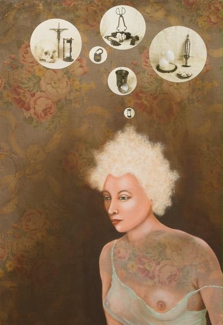 Lezley Saar, 'Suicidal Melancholia', 2012, Painting, Acrylic and digital photographs on fabric on board, Various Small Fires