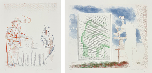 David Hockney, 'Figures with Still Life; and A Picture of Ourselves, from The Blue Guitar', 1976-1977, Phillips