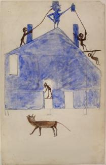 Bill Traylor, House, ca. 1940-1942, watercolor and graphite on cardboard. MontgomeryMuseum of Fine Arts, Montgomery, Alabama, Gift of Charles and Eugenia Shannon