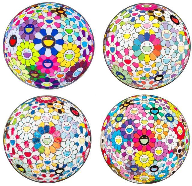 Takashi Murakami, 'Flowerball (4): Scenery with a Rainbow in the Midst; Flowerball Multicolor; Flowerball: Want to Hold You; Awakening', 2014; 2014; 2015; 2014, Julien's Auctions