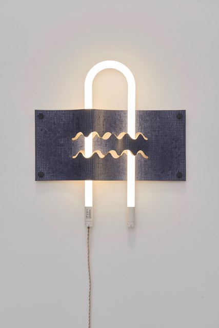 Dana Hemenway, 'Untitled (Light Weave No. 4 - blue)', 2019, Sculpture, Ceramics, glaze, LED light, fabric covered cord, Eleanor Harwood Gallery