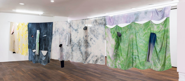 Fay Shin, 'Front and back side of the planet: motility, ion, wave', 2019, Installation, Denim, silk, dye, Powerade, spray, silk thread, GALLERY SU: