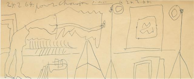 Pablo Picasso, 'Etude pour le Photographe', 1964, Pencil on paper, Phillips