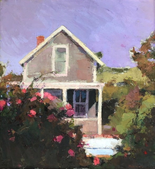", '""Cottage and Roses"" oil painting of a house with pink rose bushes,' 2018, Eisenhauer Gallery"