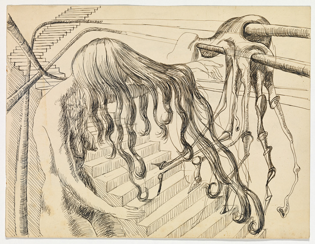 Clifford Bayliss, 'Untitled (Woman with flowing hair beside stairs with molten form) ', mid 1940s, National Gallery of Victoria