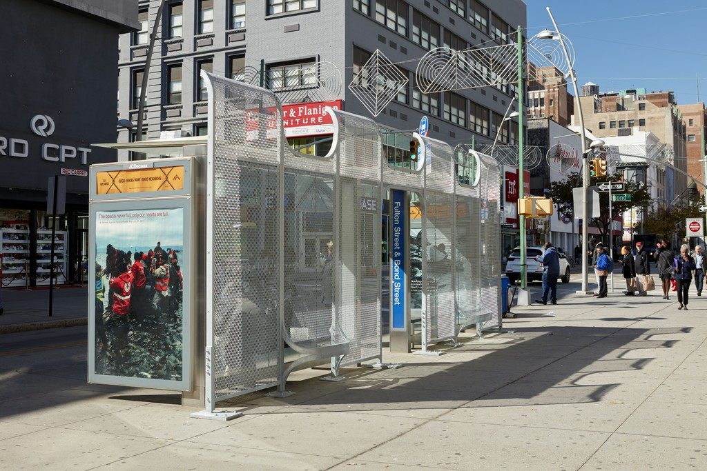 Ai Weiwei Brooklyn Shelter 4, 2017; Good Neighbors 17, 2017; Good Neighbors 12, 2017 Galvanized mild steel; Digital print Courtesy of the artist Photo: Jason Wyche, Courtesy Public Art Fund, NY On view as part of the citywide exhibition Good Fences Make Good Neighbors, presented by Public Art Fund October 12, 2017-February 11, 2018