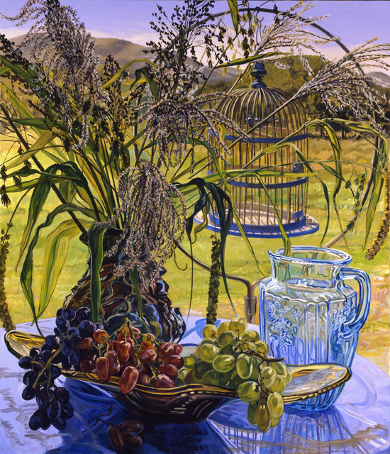 Janet Fish, 'Grasses and Blue Bird Cage ', 2005, Painting, Oil on canvas, DC Moore Gallery