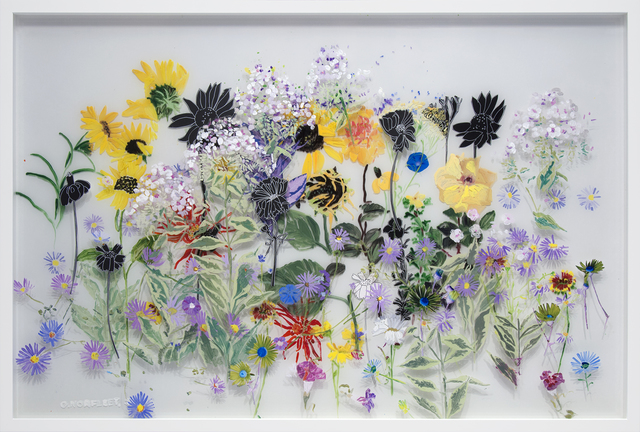 Gail Norfleet, 'September Garden', 2016, Mixed Media, Acrylic and cut paper collage on two Lucite panels, Valley House Gallery & Sculpture Garden