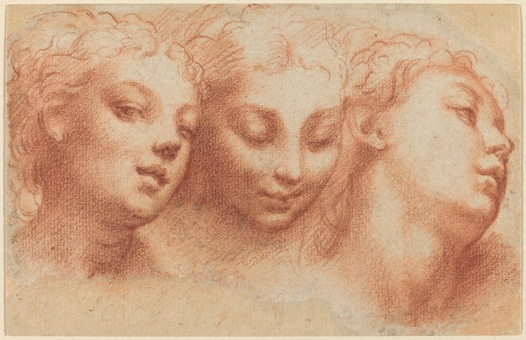 Great Francesco Mazzola, Called Parmigianino   Three Feminine Heads (ca.  1522/1524)   Artsy