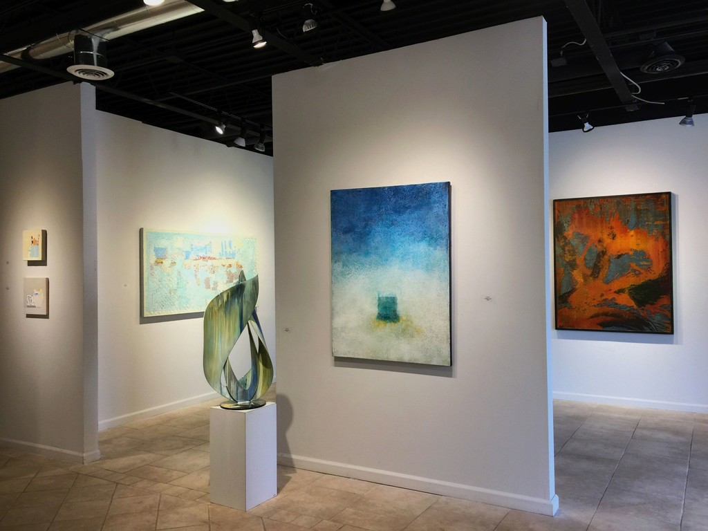 New to Us. September-October 2017. Left to right: 2 still life paintings by Sydney Licht; Number 3, painting by Grace Short; Swirl Two, sculpture by Paul Tamanian; Last Night's Rain by Scott Upton; TD1 (Autumn) by Paul Tamanin