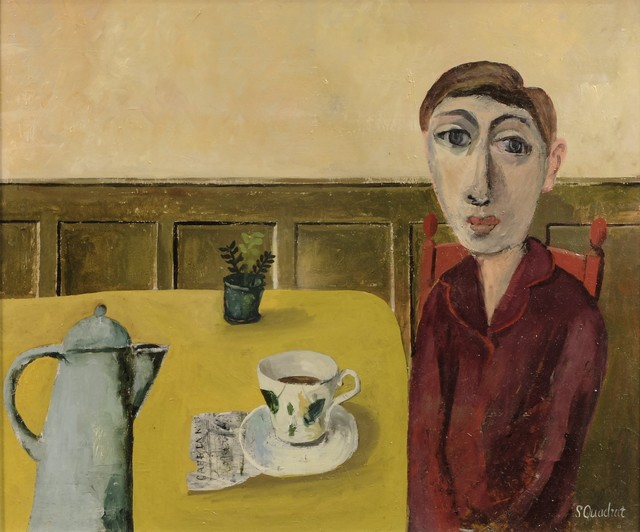 , 'Young Woman in Café,' 2018, Sladers Yard