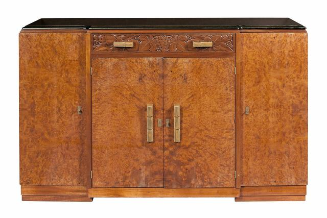 'Art Deco Marble Top Burlwood Cabinet', 1940s, Design/Decorative Art, With foliate carved frieze drawer over pair of doors all flanked by pair of doors, on plinth base., Doyle