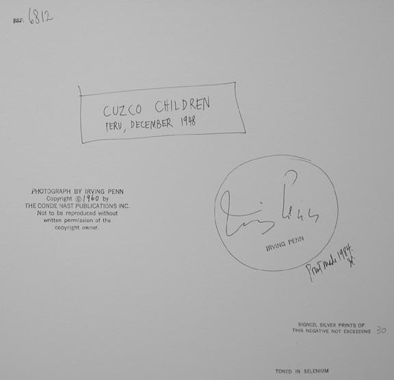 Irving Penn, 'Cuzco Children', 1948, Photography, Silver Gelatin Print, Weston Gallery