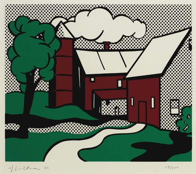 Roy Lichtenstein, 'Red Barn', 1969, Print, Screenprint in colors, on C. M. Fabriano paper, Christie's
