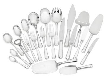 """Old Danish""/""Dobbeltriflet"". Sterling silver cutlery."