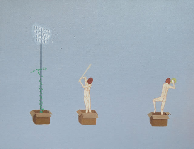 , 'Coconut Heads in the Boxes I,' 2018, Charles Moffett