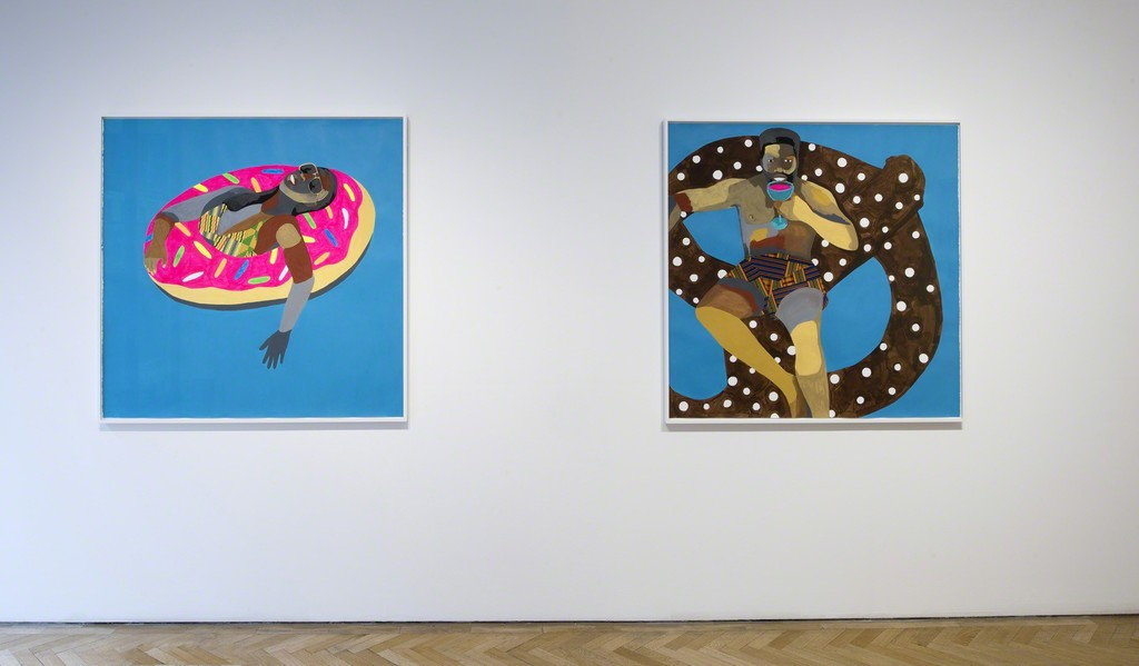 Derrick Adams, Floater No. 30 (pink doughnut), 2016 and Floater No. 24 (pretzel), 2016