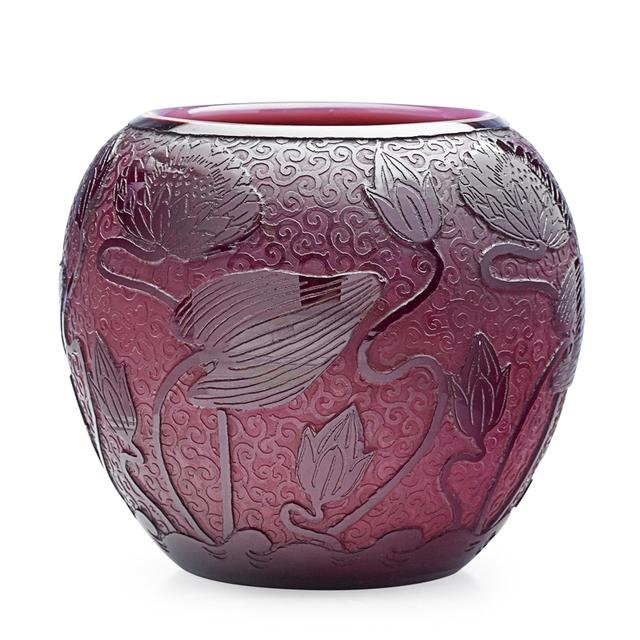 Steuben Glass, 'Steuben, Plum Jade Vase With Lotus Flowers, Corning, New York', 1920s, Rago/Wright