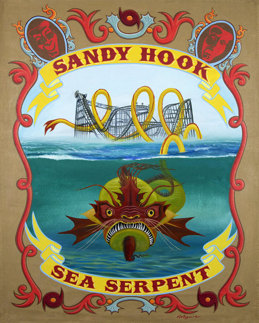 "molly mcguire, ' ""Sandy Hook Sea Serpent""', ca. 2018, Painting, Acrylic on re-purposed canvas, Parlor Gallery"