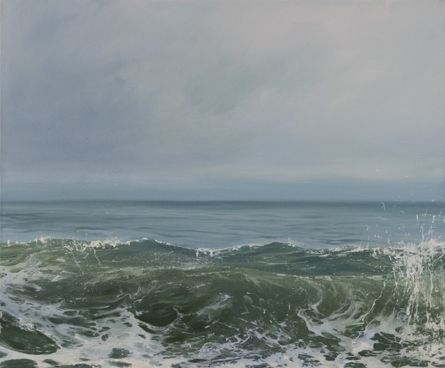 ", '""Morning Wave IV"" oil painting of a cresting wave in a pale green and blue ocean,' 2010-2017, Eisenhauer Gallery"