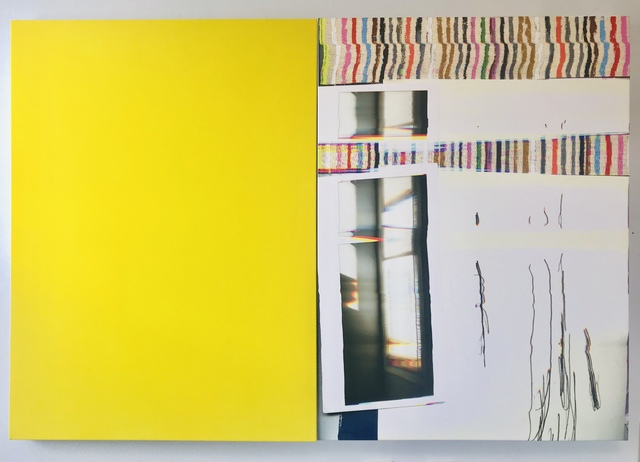 Liz Trosper, 'let me open a window: yellow', 2019, Painting, UV inks on canvas with acrylic and serigraph ink on canvas, Barry Whistler Gallery
