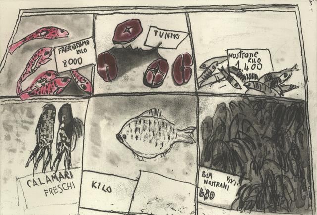 , 'Fish Market Venice,' 2012, Glasgow Print Studio