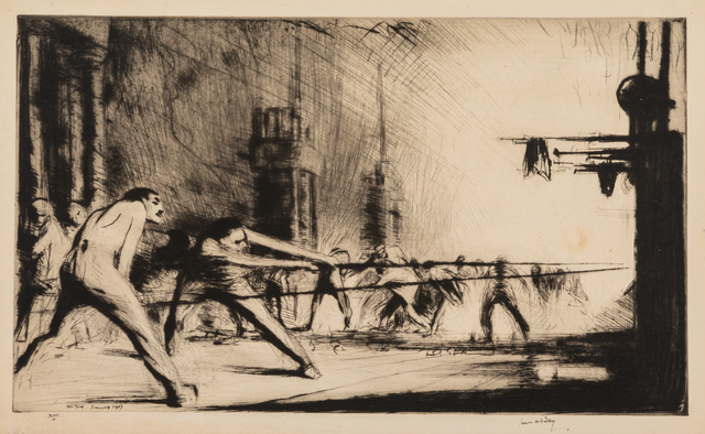 James McBey, 'A Group of Seven Works: California, 1941, First Sight of Jerusalem, France at the Furnaces, 1917, Hermon: Cavalry Moving on Damascus, Palos: Departure of Columbus, Regatta on the Grand Canal, and Sottoportico, Venice', Print, Etchings and drypoints, Hindman