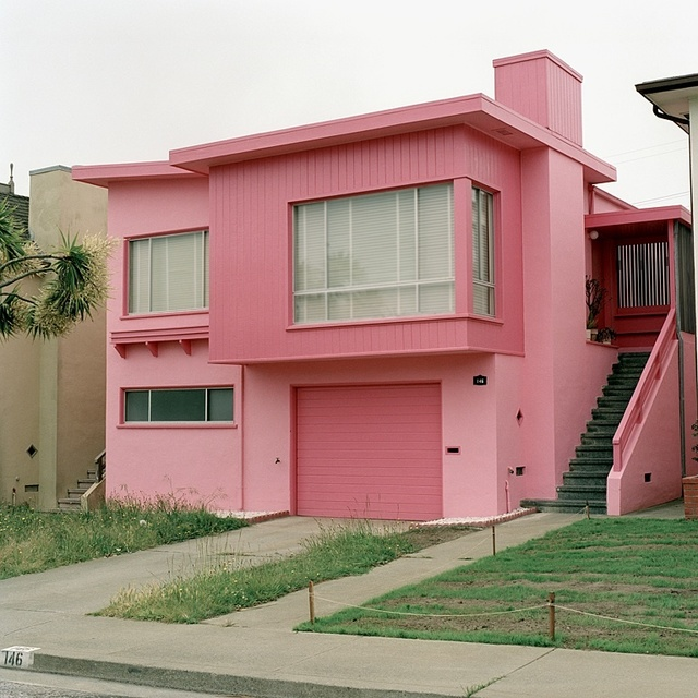 Jeff Brouws, 'Flamingo Fever, Daly City, California (Freshly Painted Houses) ', 1991, Robert Klein Gallery