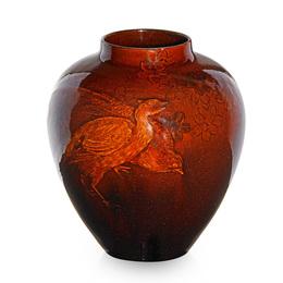 Early Tiger Eye vase with pheasants, Cincinnati, OH