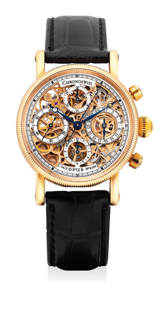 Chronoswiss, 'A fine, attractive and unusual pink gold skeletonized chronograph wristwatch with date and hack feature', Circa 2000, Phillips