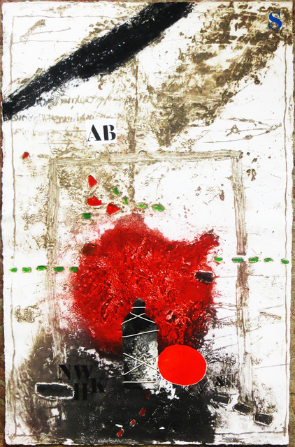 James Coignard, 'Unknown - From Otage et Rouge series', ca. 1980, Print, Carborundum etching on Moulin de Larroque paper with applied collage and threaded twine, Joseph Grossman Fine Art Gallery