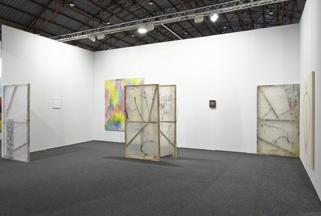 Exhibition view ALAC - Art Los Angeles Contemporary 2015. Galerie Valentin, Paris. With: Jean-Baptiste Bernadet, Antoine Donzeaud, Stephen Felton, Laurent Grasso, Anne Neukamp. © Rachael Porter / Courtesy of the artists and Valentin, Paris.