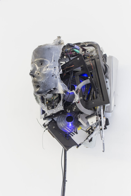 Joachim Coucke, 'Dwellers XII', 2019, Sculpture, Plastic basket, modified display head, shrink film, laptop cooling pad, various computer / laptop components and cables, plastic parts and hardware, Tatjana Pieters