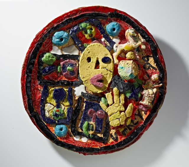 Viola Frey, 'Untitled (Plate with Yellow Oval Face & Hand)', 1994, Nancy Hoffman Gallery