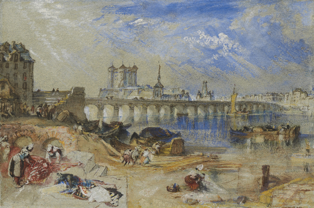 , 'Saumur from the Île d'Offart, with the Pont Cessart and the Château in the Distance,' ca. 1830, Clark Art Institute