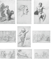 A sketchbook of eighty-one drawings, including An expressive male head (illustrated b); Study of a draped female nude; Profile of a bearded man; Profile of a man, possibly taken from a Roman bust; Profile of a bearded man, possibly taken from a Greek statue; Three figures in Renaissance costume; Life study for a standard-bearer; A draped male nude seen from behind; A reclining river nymph...