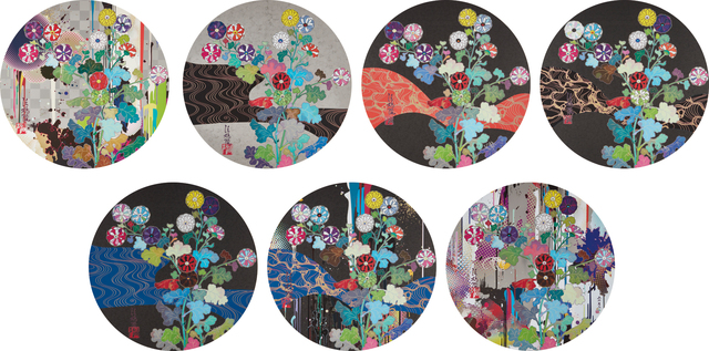 Takashi Murakami, 'With Reverence, I Lay Myself Before You - Kōrin - Chrysanthemum; Hokkyō Takashi- Kansei; A Red River Is Visible; Kansie: Wildflowers Growing in the Night; Kōrin: Azure River; Kōrin: Stellar River in the Heavens; and Kōrin: Superstring Theory', 2009-2014 and 2015, Phillips