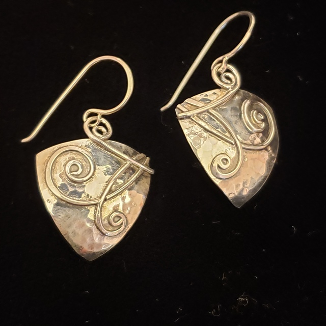 Meghan Tippy Reese, 'Triangular Applique Dangle earrings ', 2018, Jewelry, Hammered Sterling silver, Springfield Art Association