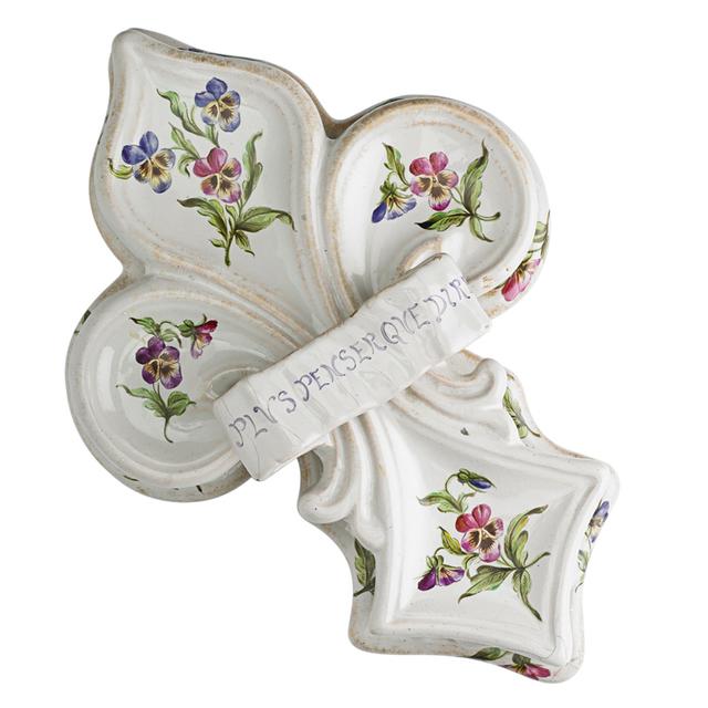 """Galle, 'Fleur-De-Lis Box, """"Plus penser que dire"""", France', Late 19th C., Design/Decorative Art, Glazed And Gilt Faience, Rago/Wright"""