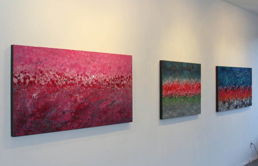 Canadian artist Marie Danielle Leblanc's Annupurna Base Camp  (right) and Kot Danda (left) inspired by her Journey to Nepal.   The vibrant pink/red/purple represent the national flower of Nepal, the Rhododendron.  On exhibit through July at Elisa Contemporary Art.