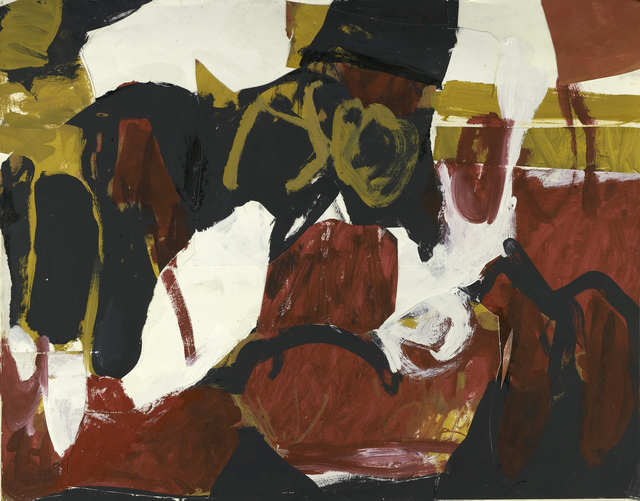 , 'Untitled (Black, White, Red, and Brown II),' ca. 1955, Berry Campbell Gallery