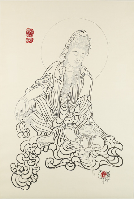 Xi Song, 'Buddha Admiring a Lotus Flower 觀蓮菩薩', 2013, Asia University Museum of Modern Art